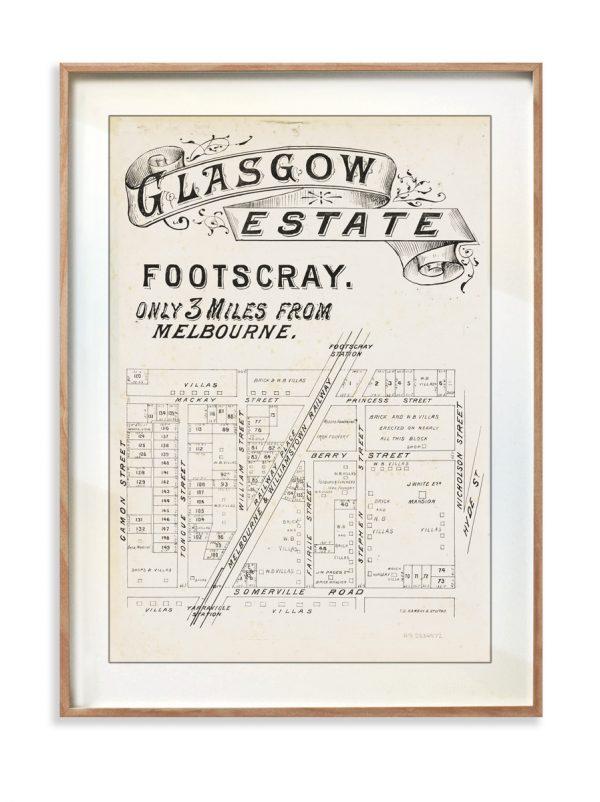 Map prints   Footscray Glasgow Map Map   Timber Frame   Melbourne   Print modern