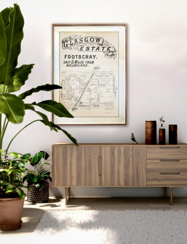Map   Timber Frame   Melbourne   Print modern