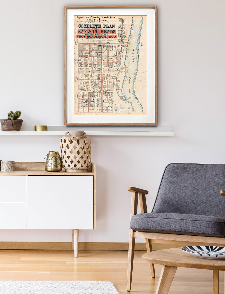 Print modern | Framed Prints | Maps | Decor | Barwon Heads | Melbourne | Historical maps and posters