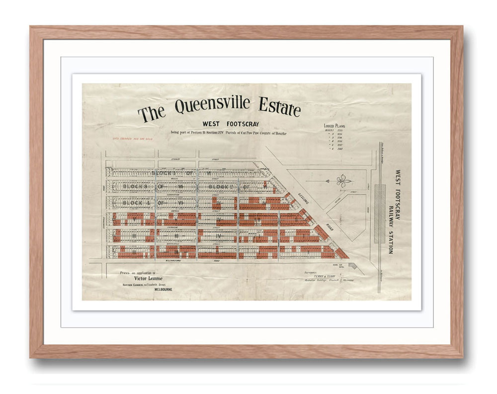 Print modern   Historical maps and posters  Timber Frame   Melbourne  