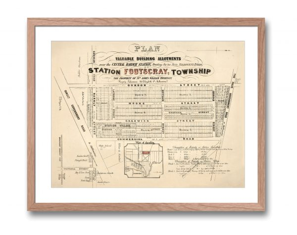 Print Modern   Footscray   Historical maps   Framed Print   Melbourne