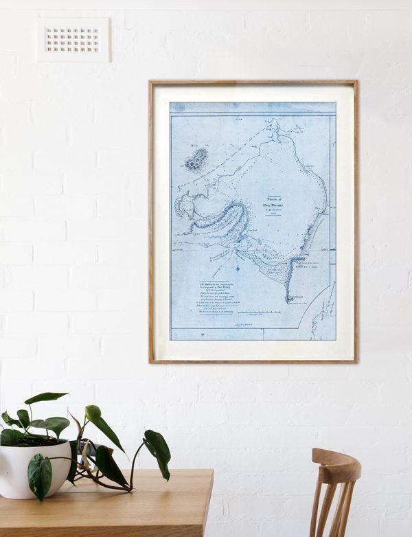 Port Phillip Bay map print   Wall art   Melbourne   Print modern