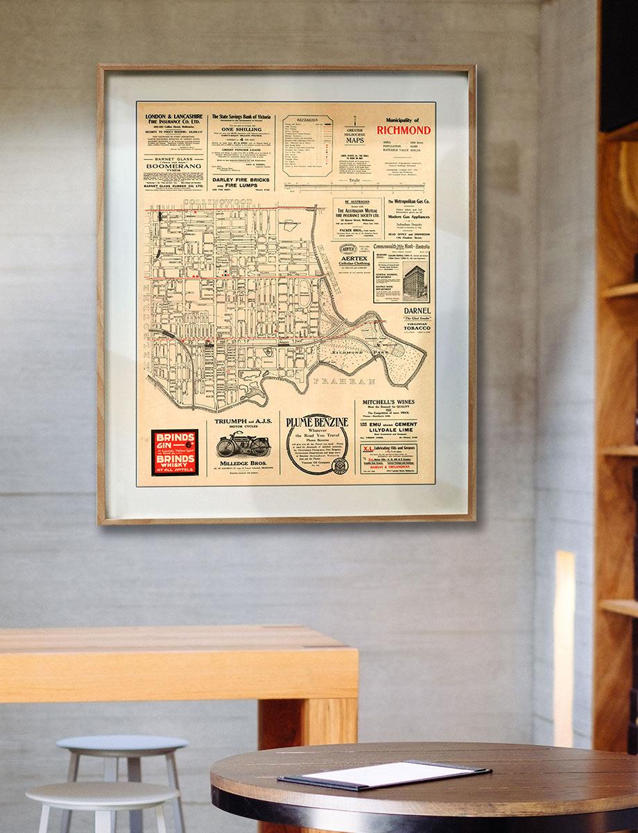 Map Prints | Maps | Richmond | Melbourne | Print modern