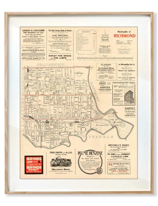 Map Prints | Vintage Maps | Richmond | Melbourne | Print modern