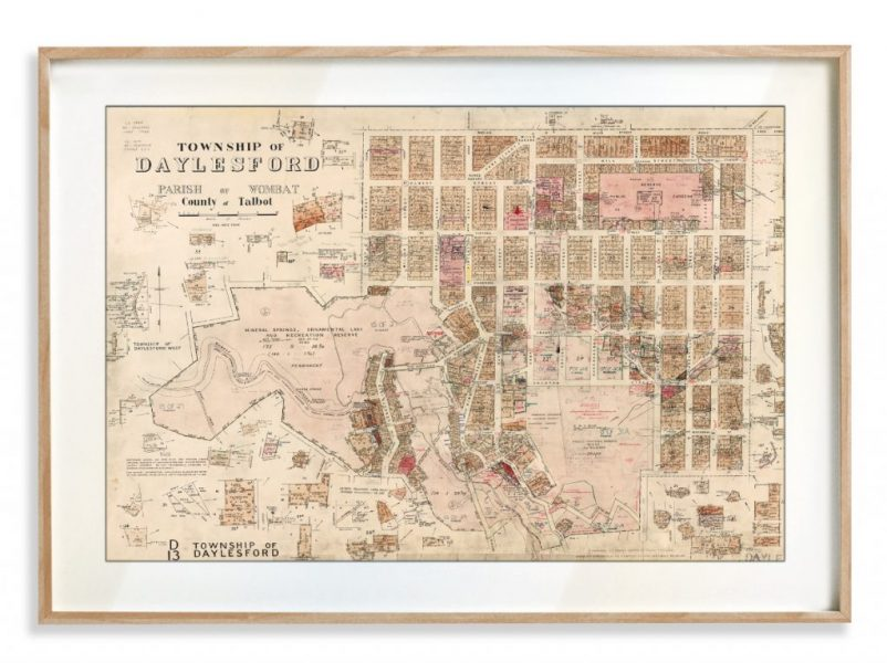 Vintage Map Prints   Maps   Daylesford   Melbourne   Print modern