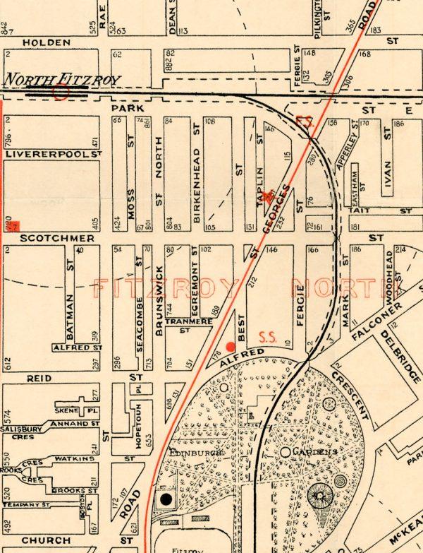 Vintage Map Prints   Maps   Fitzroy   Melbourne   Print modern