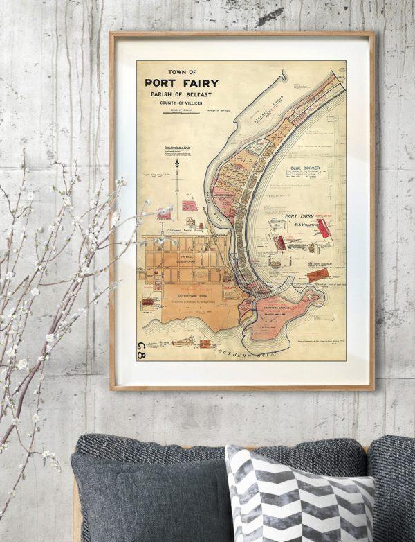 Vintage Map Prints | Maps | Port Fairy | Melbourne | Print modern