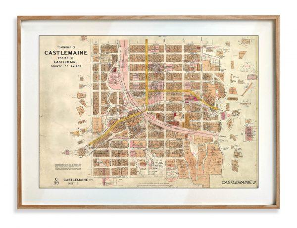 Vintage Map Prints | Maps | Castlemaine | Victoria | Print modern
