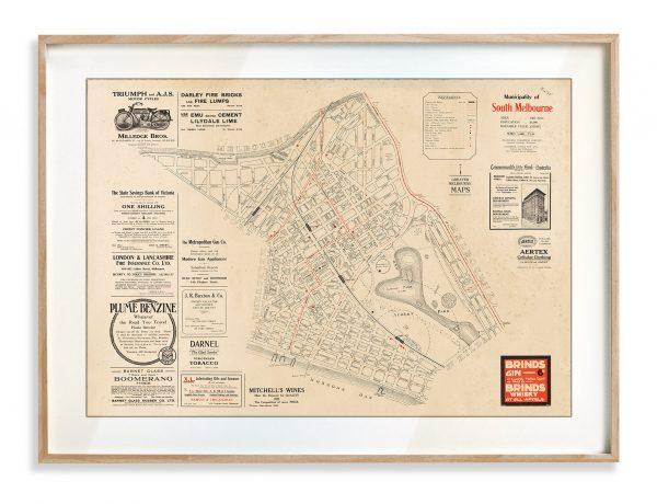 Vintage Map Prints | Maps | South Melbourne | Victoria | Print modern