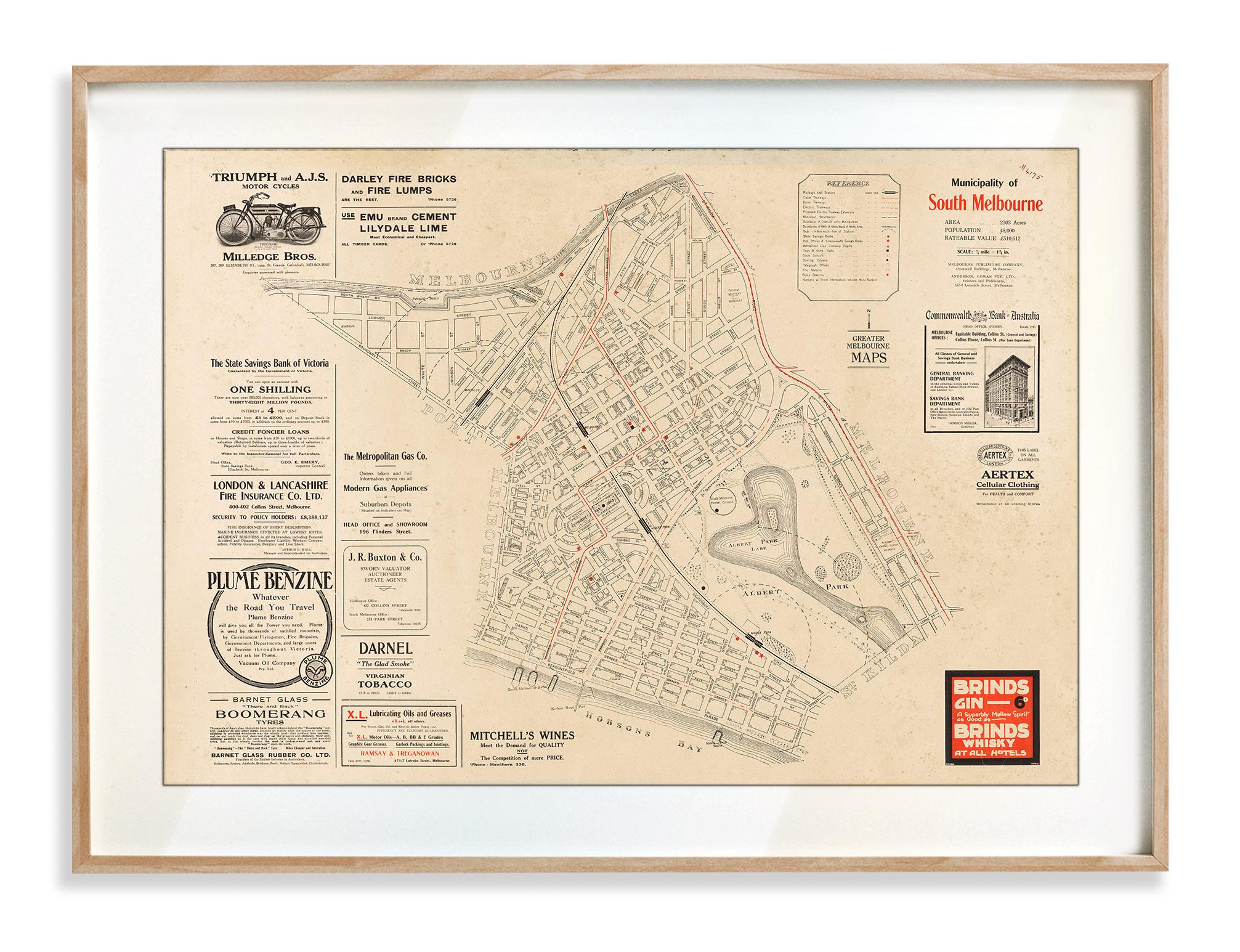 Vintage Map Prints   Maps   South Melbourne   Victoria   Print modern