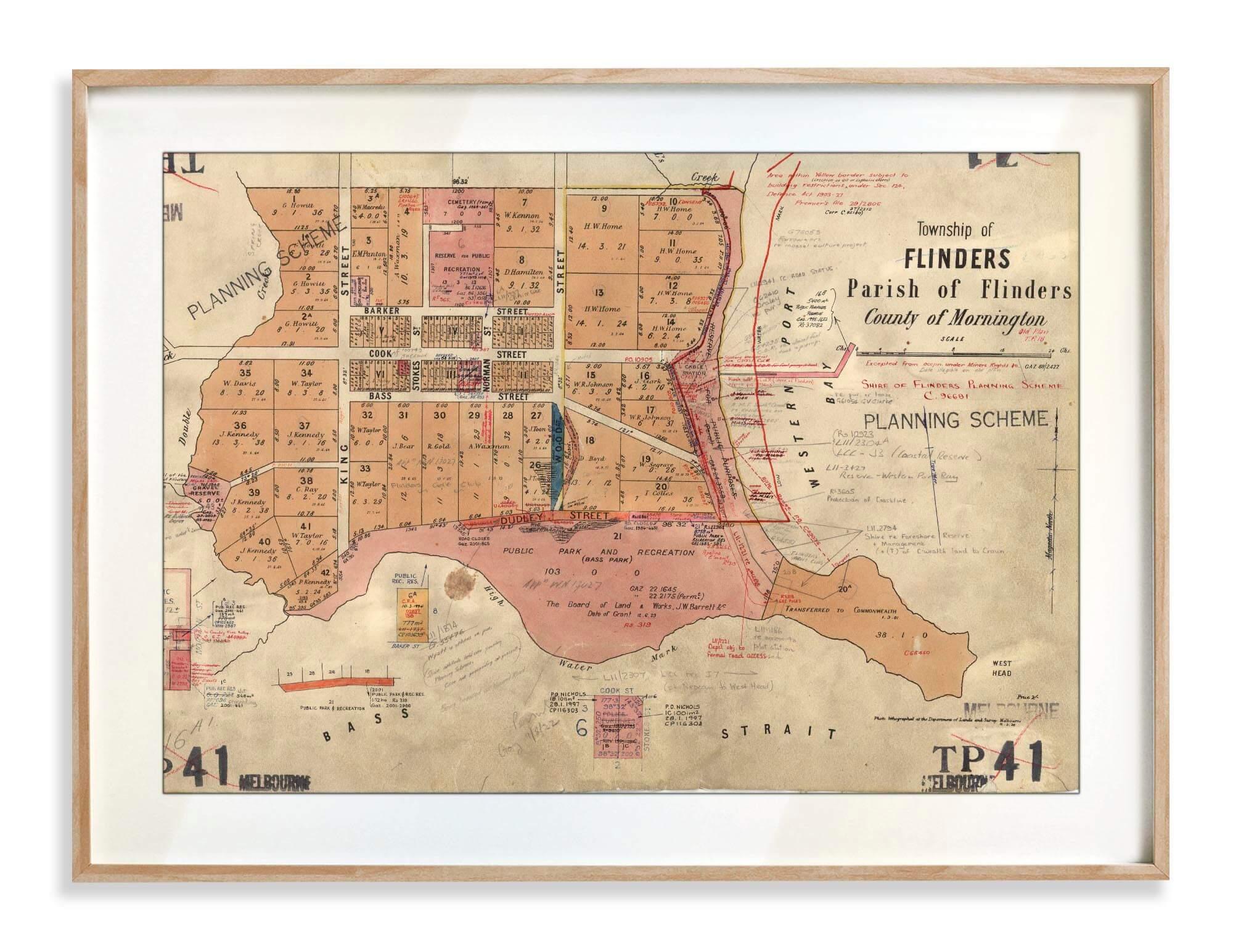 Prints   Vintage Maps   Flinders   Print modern